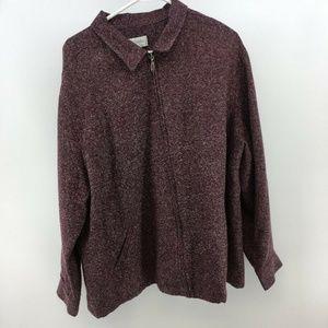 CJ Banks Size 2X Womens Plus Tweed Burgundy Jacket